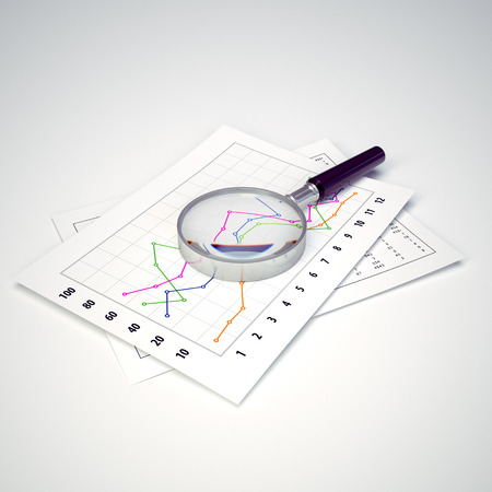 Magnifying Glass and Charts  Ready to use illustration  Business and finance