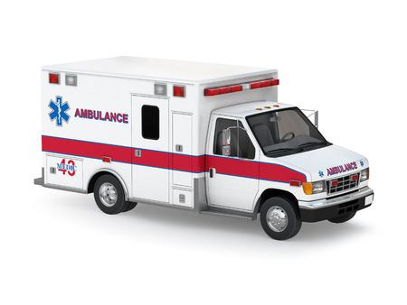 Ambulance Geïsoleerd op witte achtergrond klaar om afbeelding te gebruiken