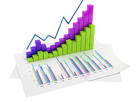 Graphs of financial analysis - Isolated on white backround