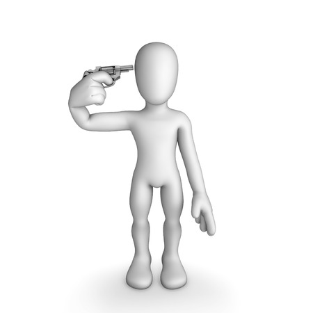 Suicide man with gun illustration   Isolated on white background illustration