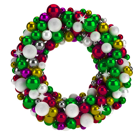 Illustration of colorful round christmas wreath with beautiful ribbon isolated on white backround