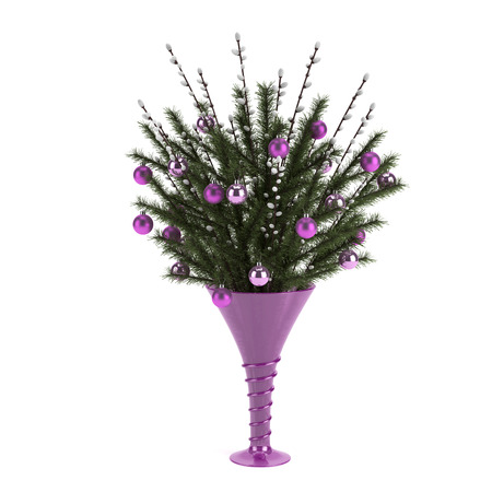 Fir needles in vase with Christmas decorations   Isolated 版權商用圖片