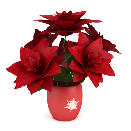 Red amaryllis in vase with Christmas decorations   Isolated