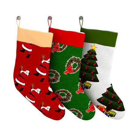 Set of Isolated Colorful Christmas Gift Socks on white background 版權商用圖片