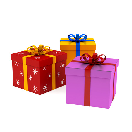 Set of christmas and birhday gift boxes   Isolated on white