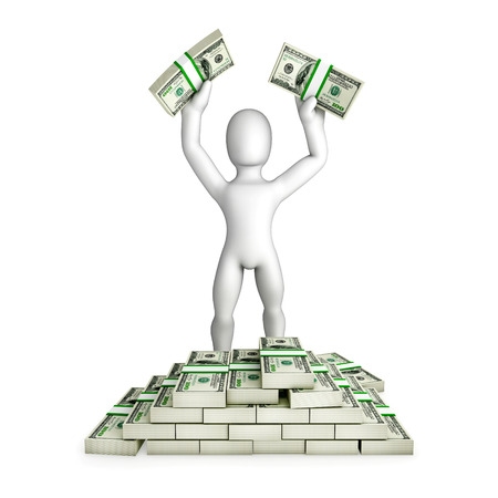 anywhere: Man is having a lot of money illustration. Humorous illustration. Isolated 3D image on the white background. Ready to use anywhere you want. Web, print or motion.