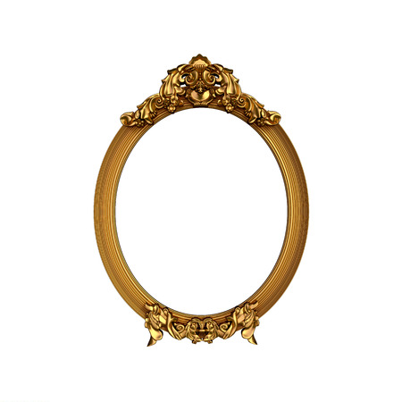 Oval vintage golden frame with blank space. Isolated on white. 版權商用圖片