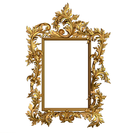 Rectangular vintage golden frame with blank space. Isolated on white.