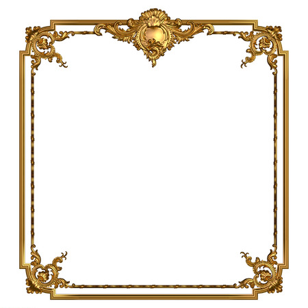 Square vintage golden frame with blank space. Isolated on white.