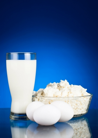 Fresh eggs and dairy products  curd and milk photo