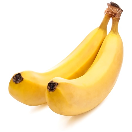 gelb: Two yellow Bananas ripe Isolated Located cascade on White