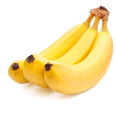 gelb: Three yellow Bananas ripe Isolated Located cascade on White