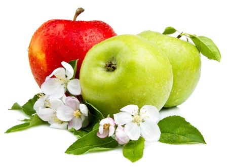 꽃, 잎과 흰색 배경에 물 방울과 두 개의 녹색 사과와 빨간 사과