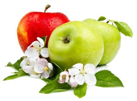 2 つのグリーンアップルと花、赤いリンゴ、白い背景に葉や水滴
