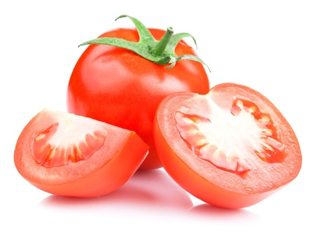 comestible: Red Ripe Tomatoes vegetable with cut on White background Stock Photo