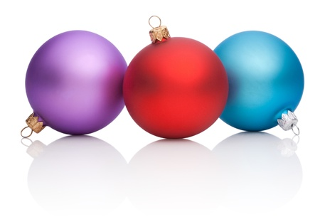 Christmas Red, Purple, Blue Baubles Isolated on white background