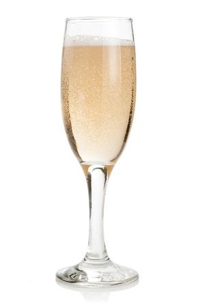 ガラスのシャンパン孤立した白い背景の上 写真素材