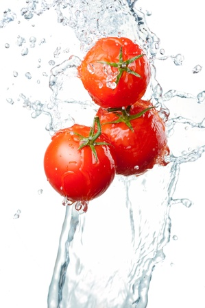 Three Fresh red Tomatoes in splash of water Isolated on white background Stok Fotoğraf
