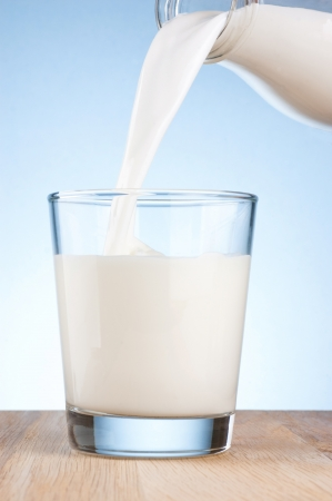 glass half full: Pouring milk from a bottle into a glass on a blue background
