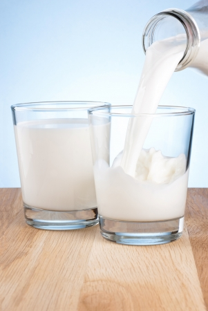 Pouring milk from a bottle into a two glass on a blue background photo