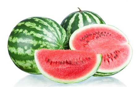 two and a half: Two Whole watermelon, half and Slice isolated  on a white background