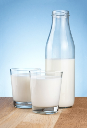 Half Milk bottle and two glass is wooden table on a blue background photo