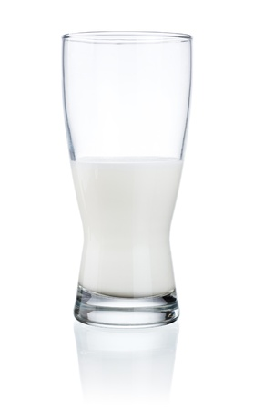 half open: Half a glass of fresh milk isolated on a white background Stock Photo