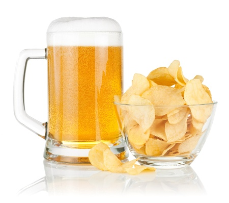 Mug of Fresh Beer and bowl of with Pile potato chips on a white background