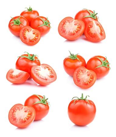 comestible: Set fresh red tomato fruits isolated on white background Stock Photo
