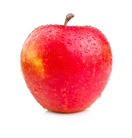 One Juicy Wet Red Apple Isolated on White Background photo