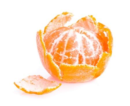 tangerine peel: Peeled fruit with tangerine peel isolated on white background