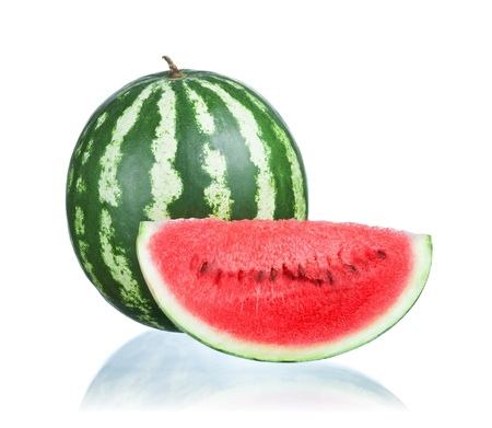 Watermelon and Slice isolated  on a white background photo