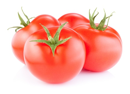 pulpy: Ripe Red Tomatoes isolated on a white background Stock Photo