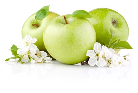 Three Green Apples with Leaf and Flowers isolated on a white background Фото со стока