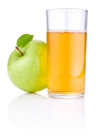 Glass of apple juice, green apples with leaves and drops of water isolated on a white background photo