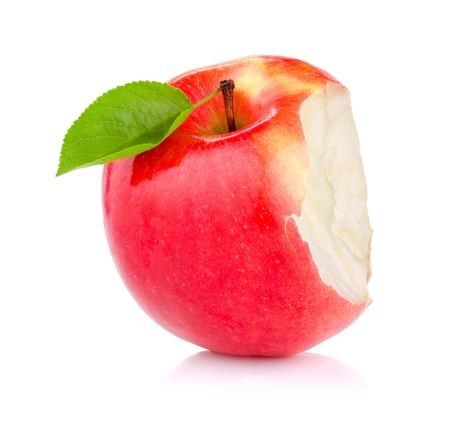 eaten: Bitten red juicy apple with green leaf isolated on white background