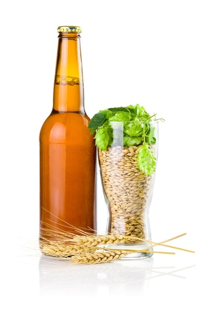 Brown bottle of beer, Glass full of barley and hops, Wheat ears isolated on white background photo
