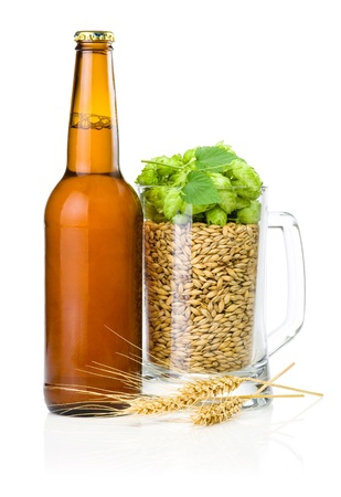 Brown bottle of beer, Mug full of barley and hops, Wheat ears isolated on white background Фото со стока