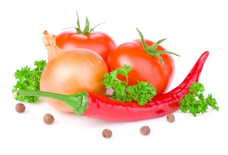 Fresh Red Hot Pepper, Two Juicy tomato, parsley and allspice isolated on white background Фото со стока - 15234903