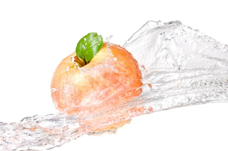 One juicy red apple in water splash isolated on a white background photo