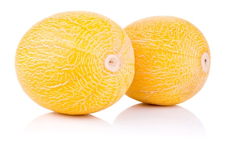 sapid: Two whole fresh honeydew melon isolated on a white background Stock Photo