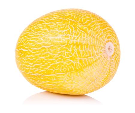 sapid: Single whole fresh honeydew melon isolated on a white background