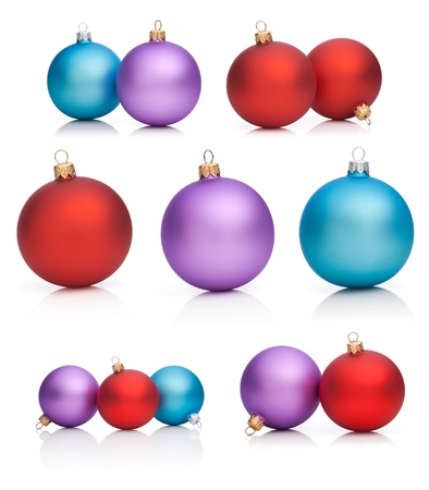 Set Christmas Baubles  Red, Purple, Blue - Isolated on white background photo