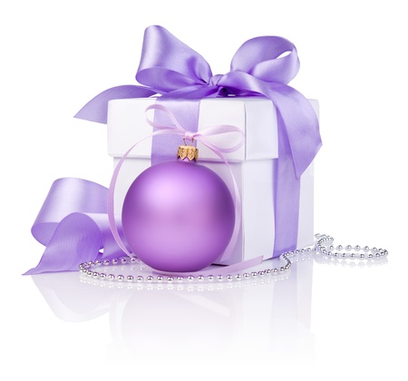 purple silk: Christmas gift with Purple Ball and ribbon bow isolated on white background Stock Photo