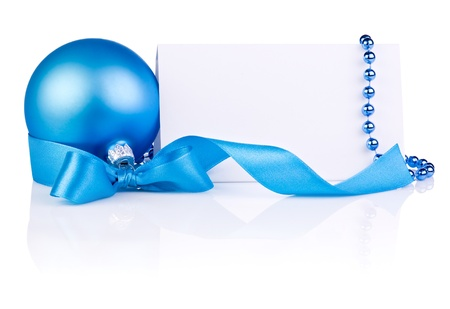 christmas beads: Christmas Card with Blue Ball, ribbon bow and beads isolated on white background