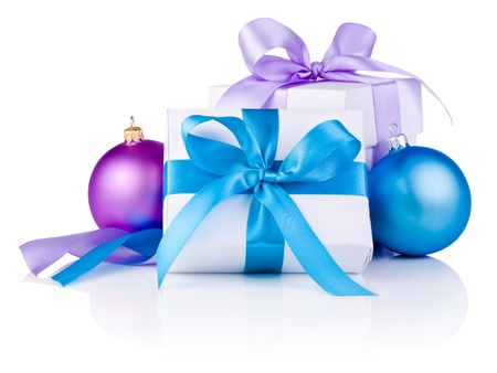 boxs: Two White boxs tied with a satin ribbon bow, Purple and blue Christmas balls Isolated on white background