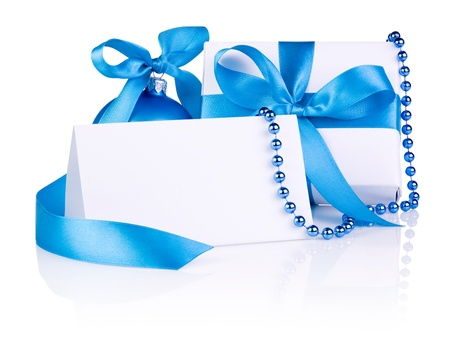 new year eve beads: Christmas Card and gift with Blue Ball, ribbon bow, beads isolated on white background Stock Photo