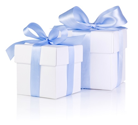 boxs: Two White boxs tied with a Blue satin ribbon bow Isolated on white background