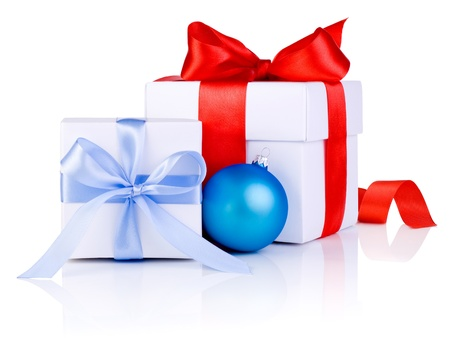 boxs: Two White boxs tied with a satin ribbon bow and blue Christmas balls Isolated on white background Stock Photo