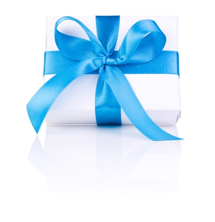 blue box: One White boxs tied Blue satin ribbon bow Isolated on white background